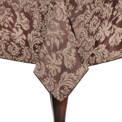 High Quality Miranda Damask 90 Inch Square Tablecloth In Chocolate
