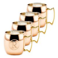 """Old Dutch International Solid Copper Monogram Block Letter """"R"""" Moscow Mule Mugs (Set of 4)"""