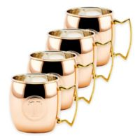 """Old Dutch International Solid Copper Monogram Block Letter """"T"""" Moscow Mule Mugs (Set of 4)"""