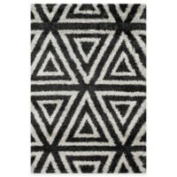 Loloi Rugs Cosma Angles 3-Foot 9-Inch x 5-Foot 6-Inch Shag Rug in Charcoal/Ivory