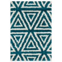 Loloi Rugs Cosma Angles 3-Foot 9-Inch x 5-Foot 6-Inch Shag Rug in Blue/Ivory