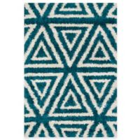 Loloi Rugs Cosma Angles 7-Foot 7-Inch x 10-Foot 5-Inch Shag Rug Blue/Ivory