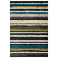 Loloi Rugs Cosma Stripes 3-Foot 9-Inch x 5-Foot 6-Inch Shag Rug in Green/Multi