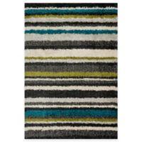 Loloi Rugs Cosma Stripes 3-Foot 9-Inch x 5-Foot 6-Inch Shag Rug in Green/Multi