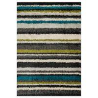 Loloi Rugs Cosma Stripes 7-Foot 7-Inch x 10-Foot 5-Inch Shag Rug in Green/Multi
