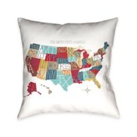 Laural Home Colorful USA Map Throw Pillow