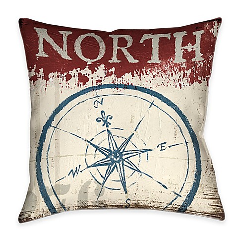 Laural Home Nautical North South Reversible Throw Pillow