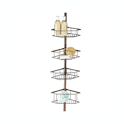 oilrubbed tension pole shower caddy in bronze