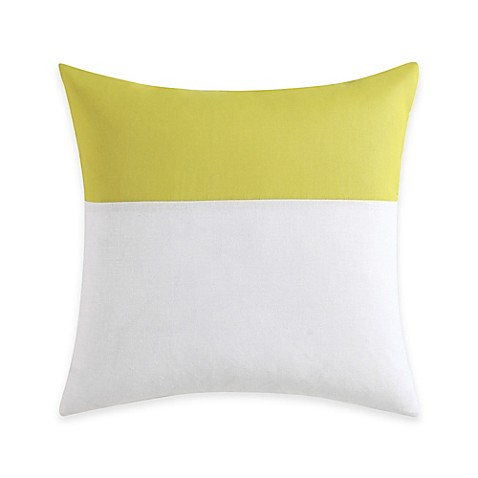 Vince Camuto Basel Sheer Overlay Square Throw Pillow in White/Yellow - Bed Bath & Beyond