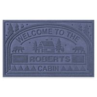 """Weather Guard™ """"Welcome to the Cabin"""" 23-Inch x 36-Inch Door Mat in Navy"""