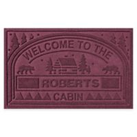 """Weather Guard™ """"Welcome to the Cabin"""" 23-Inch x 36-Inch Door Mat in Bordeaux"""