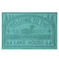 """Weather Guard™ """"Welcome to the Lake House"""" 30-Inch x 45-Inch Door Mat in Aquamarine"""