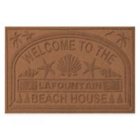 "Weather Guard™ ""Welcome to the Beach House"" 30-Inch x 45-Inch Door Mat in Dark Brown"