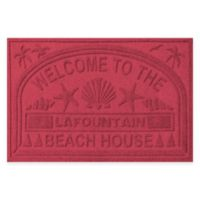 """Weather Guard™ """"Welcome to the Beach House"""" 30-Inch x 45-Inch Door Mat in Red/Black"""