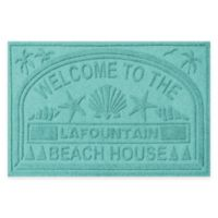 "Weather Guard™ ""Welcome to the Beach House"" 30-Inch x 45-Inch Door Mat in Aquamarine"