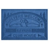 """Weather Guard™ """"Club House: Golfers Welcome"""" 30-Inch x 45-Inch Door Mat in Medium Blue"""