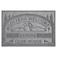 """Weather Guard™ """"Club House: Golfers Welcome"""" 30-Inch x 45-Inch Door Mat in Grey"""
