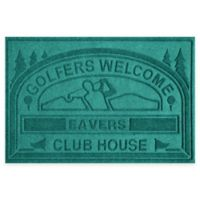 """Weather Guard™ """"Club House: Golfers Welcome"""" 30-Inch x 45-Inch Door Mat in Aquamarine"""