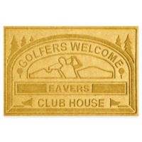 """Weather Guard™ """"Club House: Golfers Welcome"""" 30-Inch x 45-Inch Door Mat in Yellow"""