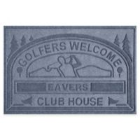 """Weather Guard™ """"Club House: Golfers Welcome"""" 30-Inch x 45-Inch Door Mat in Blue Stone"""