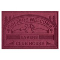 """Weather Guard™ """"Club House: Golfers Welcome"""" 30-Inch x 45-Inch Door Mat in Bordeaux"""
