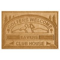 """Weather Guard™ """"Club House: Golfers Welcome"""" 30-Inch x 45-Inch Door Mat in Gold"""