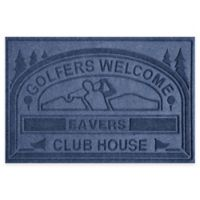 """Weather Guard™ """"Club House: Golfers Welcome"""" 30-Inch x 45-Inch Door Mat in Navy"""