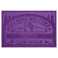 "Weather Guard™ ""Club House: Golfers Welcome"" 30-Inch x 45-Inch Door Mat in Purple"