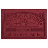 """Weather Guard™ """"Club House: Golfers Welcome"""" 30-Inch x 45-Inch Door Mat in Red/Black"""