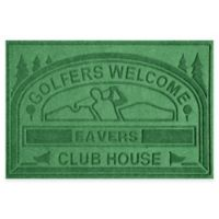 """Weather Guard™ """"Club House: Golfers Welcome"""" 30-Inch x 45-Inch Door Mat in Light Green"""