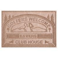 "Weather Guard™ ""Club House: Golfers Welcome"" 30-Inch x 45-Inch Door Mat in Medium Brown"