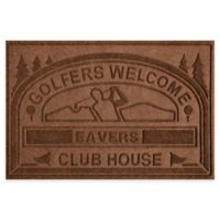"Weather Guard™ ""Club House: Golfers Welcome"" 30-Inch x 45-Inch Door Mat in Dark Brown"