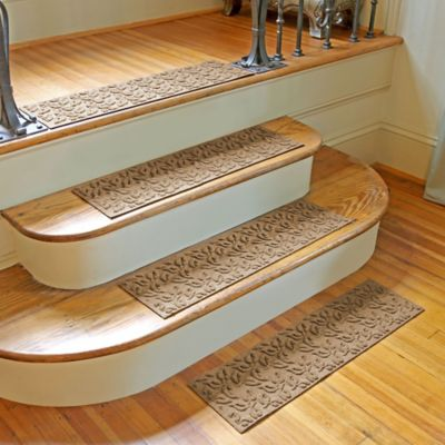 weather guard dogwood leaf stair treads in camel set of 2