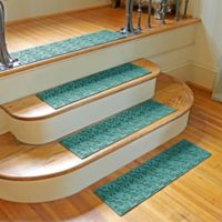 Weather Guard™ Dogwood Leaf Stair Treads in Aquamarine (Set of 2)