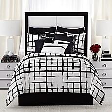 vince camuto lucerne comforter set in black/white - bed bath & beyond