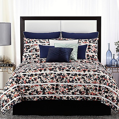 vince camuto messina comforter set in navy - bed bath & beyond