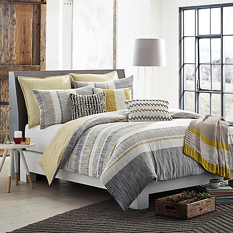 Kas Room Logan Duvet Cover In Grey Yellow Bed Bath Amp Beyond