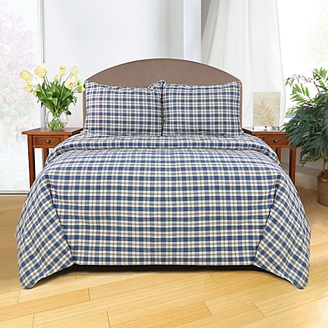 the vintage house by park b smith buffalo plaid duvet cover set in denim bed bath beyond. Black Bedroom Furniture Sets. Home Design Ideas