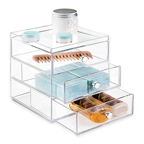 Interdesign luci 3 drawer organizer bed bath beyond - Bathroom vanity drawer organizers ...