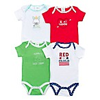 Cutie Pie Size 0-6M 4-Pack Spring Holiday Short-Sleeve Bodysuits