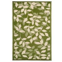 Fab Habitat Bali 5-Foot x 8-Foot Indoor/Outdoor Area Rug in Forest Green & Cream