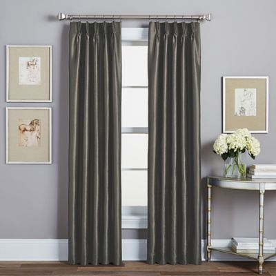 spellbound pinchpleat 84inch rod pocket lined window curtain panel in pewter