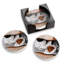 Espresso Coasters with Caddy (Set of 4)