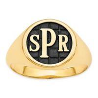 14K Yellow Gold Size 5 Ladies' Block Letter Tile Signet Ring