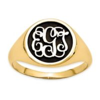 Gold-Plated Sterling Silver Size 10 Mens' Script Letters Ring