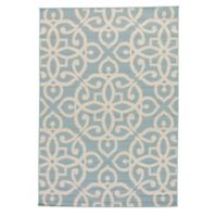 Jaipur Scrolled 5-Foot 3-Inch x 7-Foot 6-Inch Indoor/Outdoor Area Rug in Blue/Taupe