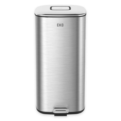 EKO Stainless Steel Square 32 Liter Soft Close Step Trash Can