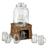 Artland® Beverage Dispenser Set with Sea Grass Stand and 6 Mason Jar Mugs