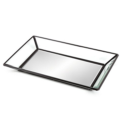 Mirrored guest towel tray bed bath beyond for Mirrored bathroom tray