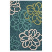 Jaipur Catalina Blossomed 3-Foot x 5-Foot Indoor/Outdoor Area Rug in Blue/Ivory